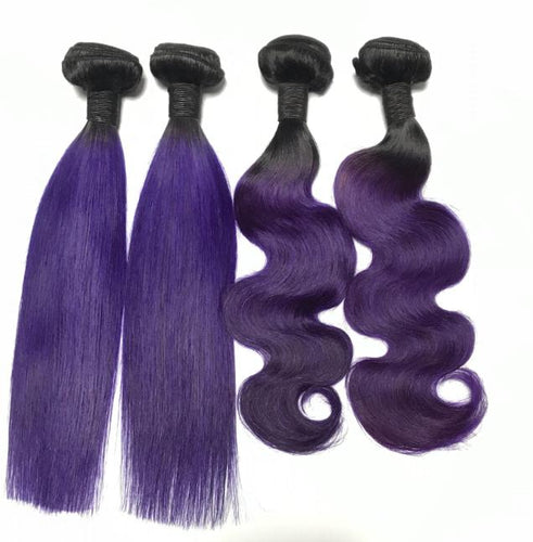 3 Purple And 1B Bundles of Brazilian Loose Curly Hair with Lace Frontal - MoWeave Virgin Hair