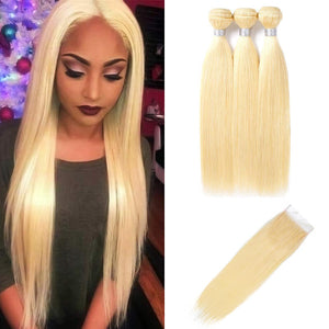 3 Bundles Of Mink 613 Blonde Straight Hair With Lace Closure - MoWeave Virgin Hair