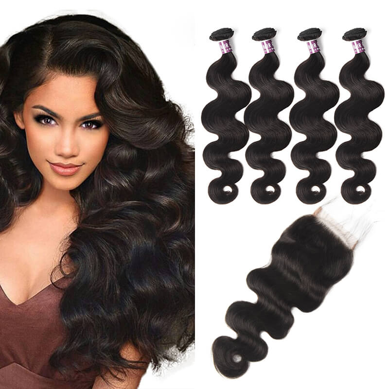 Virgin Brazilian Body Wave Hair 4 Bundles With Lace Closure - MoWeave Virgin Hair