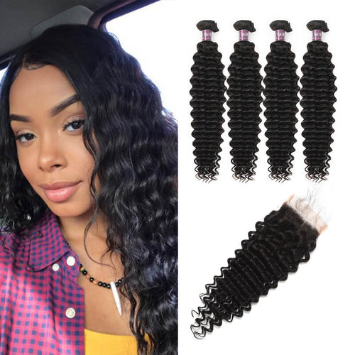 Virgin Indian Deep Wave Hair 4 Bundles With Lace Closure - MoWeave Virgin Hair