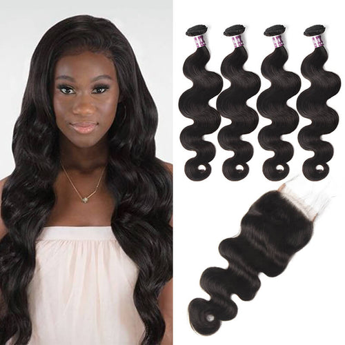 Virgin Malaysian Body Wave Hair 4 Bundles With Lace Closure - MoWeave Virgin Hair
