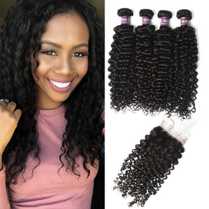 4 Virgin Malaysian Curly Hair Bundles with Closure - MoWeave Virgin Hair