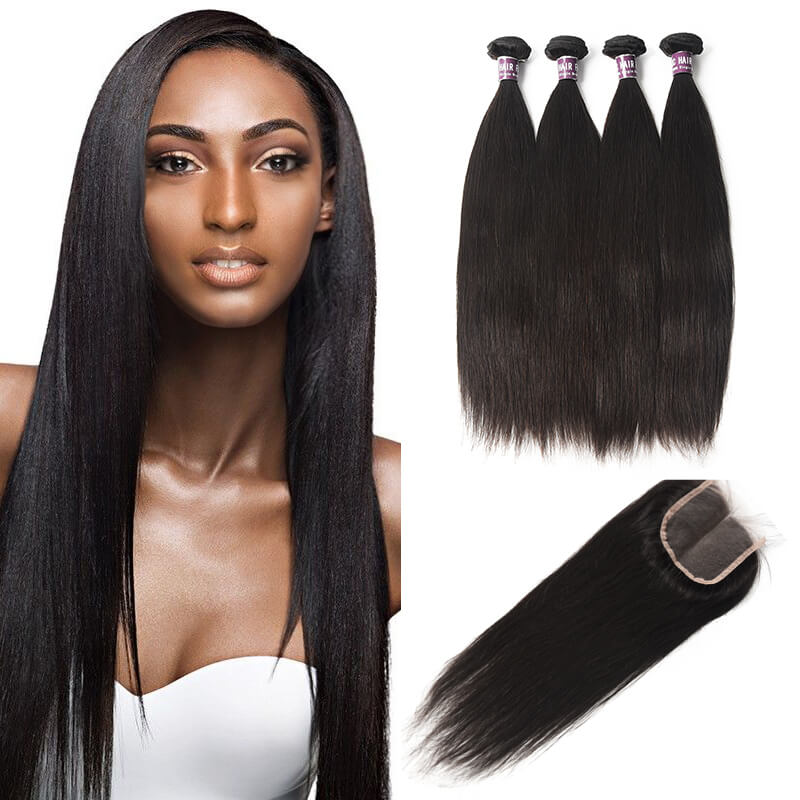 4 Bundles of Malaysian Straight Hair with Lace Closure - MoWeave Virgin Hair