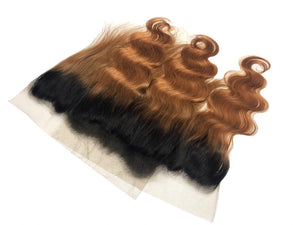 Honey Blonde Ombre and 1B Brazilian Body Wave Lace Frontal - MoWeave Virgin Hair