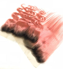 Load image into Gallery viewer, 3 Pink Bundles of Brazilian Straight Hair with Lace Frontal - MoWeave Virgin Hair