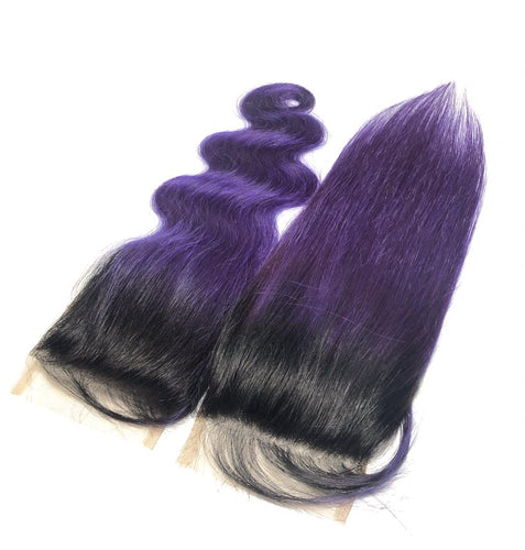Purple and 1B Brazilian Body Wave Lace Closure - MoWeave Virgin Hair