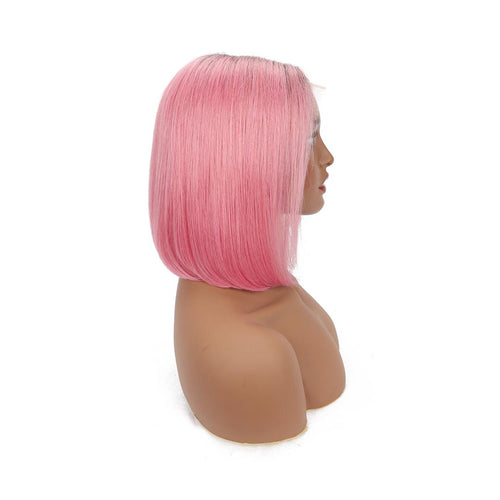 Brazilian Mink Straight Bob -  Pink Color Lace Front Bob Wig - MoWeave Virgin Hair