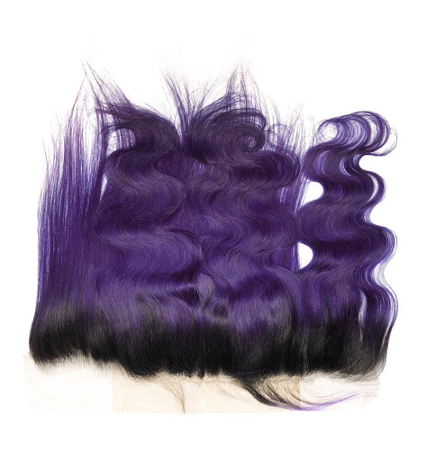 Purple and 1B Brazilian Body Wave Lace Frontal - MoWeave Virgin Hair