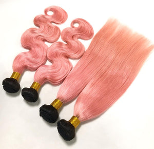 3 Pink Bundles of Brazilian Straight Hair with Lace Frontal - MoWeave Virgin Hair