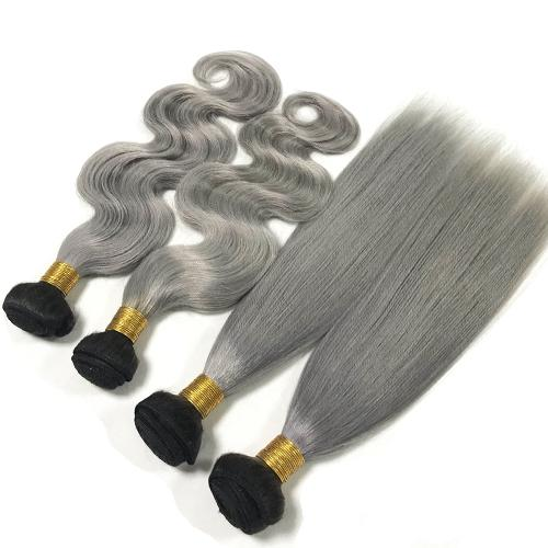 3 Gray And 1B Bundles of Brazilian Loose Curly Hair with Lace Frontal - MoWeave Virgin Hair
