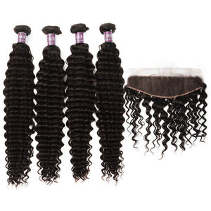 4 Bundles of Virgin Brazilian Deep Wave Hair with Lace Frontal - MoWeave Virgin Hair