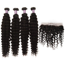 Load image into Gallery viewer, 4 Bundles of Virgin Brazilian Deep Wave Hair with Lace Frontal - MoWeave Virgin Hair