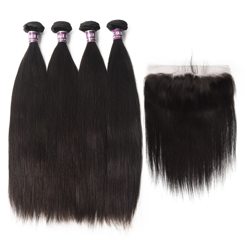 4 Bundles of Straight Virgin Brazilian Hair with Frontal - MoWeave Virgin Hair