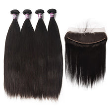 Load image into Gallery viewer, 4 Bundles of Straight Virgin Brazilian Hair with Frontal - MoWeave Virgin Hair