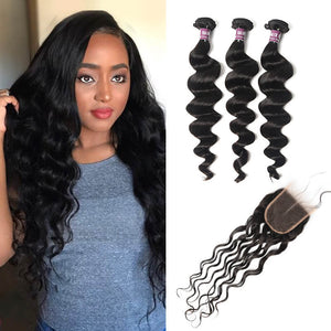 3 Bundles of Brazilian Loose Curly Hair with Lace Closure - MoWeave Virgin Hair