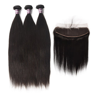 3 Bundles of Virgin Brazilian Straight Hair with Frontal - MoWeave Virgin Hair