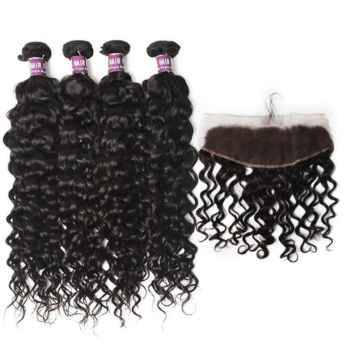 4 Bundles of Virgin Brazilian Water Wave Hair Weave with Frontal - MoWeave Virgin Hair