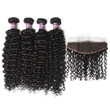 Load image into Gallery viewer, 4 Peruvian Virgin Hair Deep Curly Bundles with Lace Frontal - MoWeave Virgin Hair