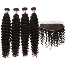Load image into Gallery viewer, 4 Bundles of Virgin Peruvian Deep Wave Bundles with Lace Frontal - MoWeave Virgin Hair
