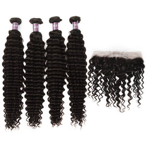 4 Bundles of Virgin Peruvian Deep Wave Bundles with Lace Frontal - MoWeave Virgin Hair