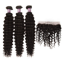 Load image into Gallery viewer, 3 Malaysian Virgin Hair Deep Wave Weave with Frontal - MoWeave Virgin Hair