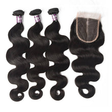 Load image into Gallery viewer, Virgin Indian Body Wave Hair 3 Bundles With Lace Closure - MoWeave Virgin Hair