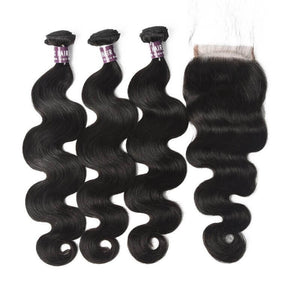 Virgin Indian Body Wave Hair 3 Bundles With Lace Closure - MoWeave Virgin Hair