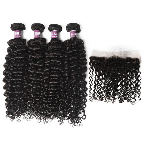 4 Virgin Indian Curly Hair Bundles with Frontal - MoWeave Virgin Hair