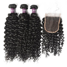 Load image into Gallery viewer, 3 Bundles of Indian Curly Hair with Closure - MoWeave Virgin Hair