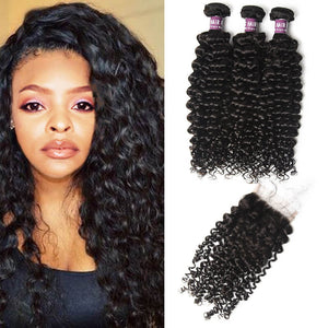 3 Bundles of Indian Curly Hair with Closure - MoWeave Virgin Hair
