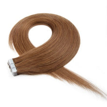 Load image into Gallery viewer, Light Brown 8# Straight Seamless Tape In Hair Extensions - MoWeave Virgin Hair
