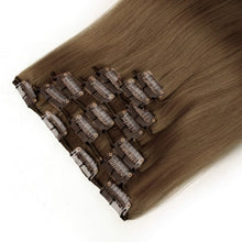 Load image into Gallery viewer, Light Chestnut 8# Straight Clip In Hair Extensions 9 PCS - MoWeave Virgin Hair