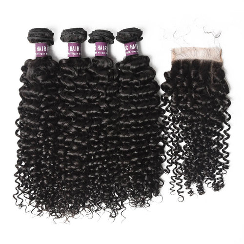 Virgin Malaysian Deep Wave Hair 4 Bundles With Lace Closure - MoWeave Virgin Hair