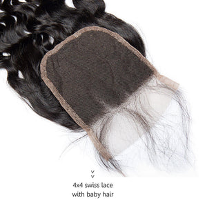 Three Part Malaysian Natural Wave Lace Closure - MoWeave Virgin Hair