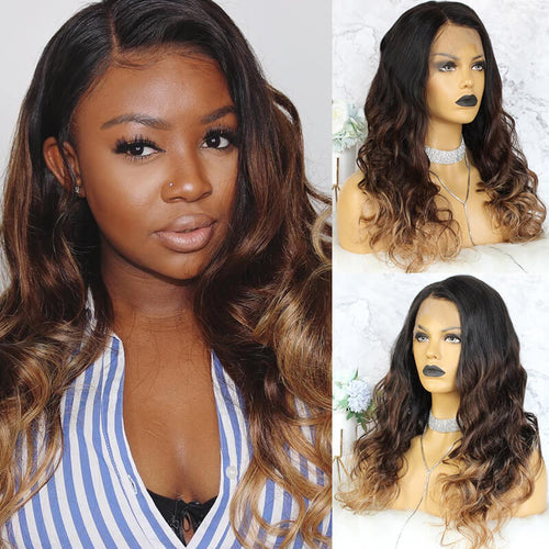 Ombre Lace Front Wigs 3 Color 1b/#4/#27 - MoWeave Virgin Hair