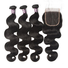Load image into Gallery viewer, Virgin Peruvian Body Wave Hair 3 Bundles With Lace Closure - MoWeave Virgin Hair