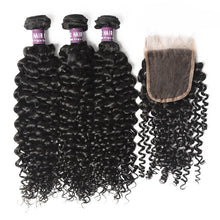 Load image into Gallery viewer, 3 Bundles of Peruvian Curly Hair with Closure - MoWeave Virgin Hair