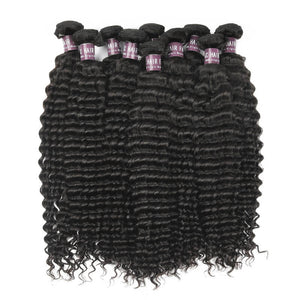 Virgin Peruvian Deep Wave Hair 3 Bundles With Lace Closure - MoWeave Virgin Hair