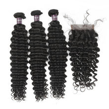 Load image into Gallery viewer, Virgin Peruvian Deep Wave Hair 3 Bundles With Lace Closure - MoWeave Virgin Hair