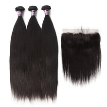 Load image into Gallery viewer, 3 Bundles of Virgin Peruvian Straight Hair with Frontal - MoWeave Virgin Hair