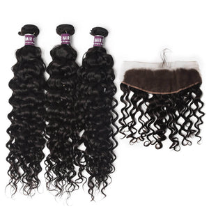 3 Bundles of Virgin Brazilian Water Wave Hair with Frontal - MoWeave Virgin Hair