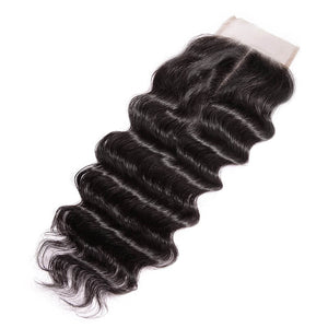 Three Part Brazilian Loose Curly Closure - MoWeave Virgin Hair