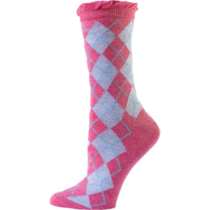 Argyle Crew Cotton Lurex Sparkle Socks W3035 - Sierra Socks Wholesale