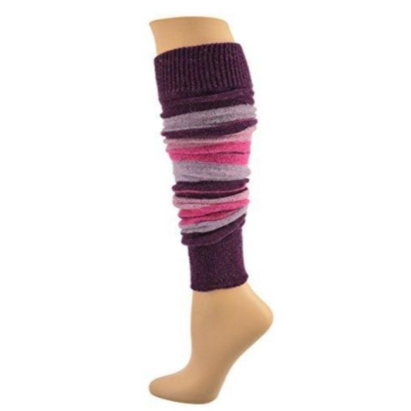 Women's Stripe Lambswool Knee Hi Leg Warmers W424 - Sierra Socks Wholesale