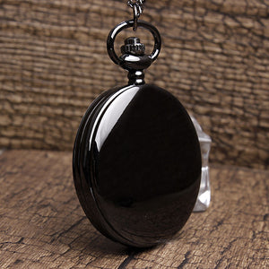 Classic Black Smooth Steampunk Pocket Watch
