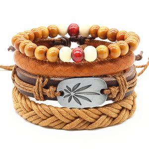 4pcs/set Handmade Trendy Vintage  Leather Bracelet