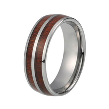 Domed Double Koa Wood Inlay Tungsten Carbide Ring