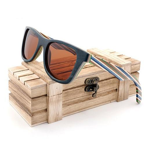 Layered Skateboard Wooden Frame Sunglasses