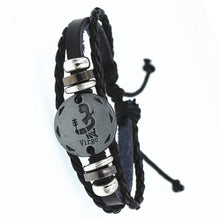 12 Constellations Zodiac Signs Leather Bracelet
