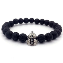 Lava Stone CZ Crown And Helmet Bracelet